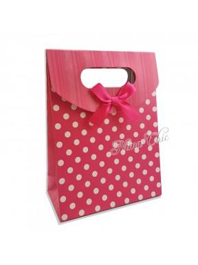 """Busta regalo in carta rigida 12x16cm con chiusura a strappo """"Pois fuxia"""""""