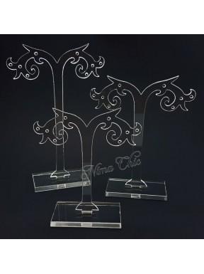 Set 3 pezzi Espositori per orecchini in plexiglass Trasparente