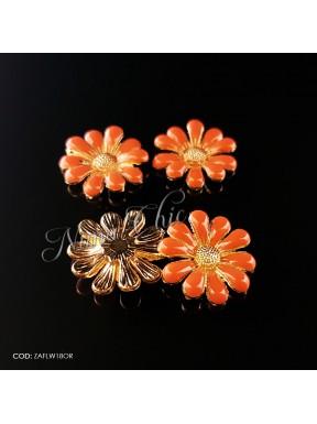 2pz APPLICAZIONI in zama Flower 18mm col. Arancione e oro