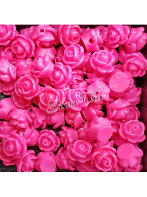5pz ROSE in resina 8/10mm con foro passante  - Rosa shocking