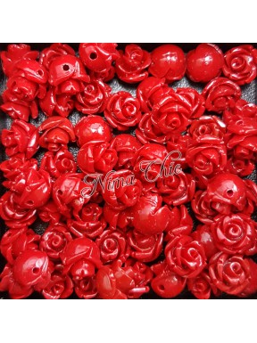 5pz ROSE in resina 8/10mm con foro passante  - RED