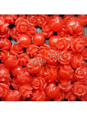 5pz ROSE in resina 8/10mm con foro passante  - LIGHT RED