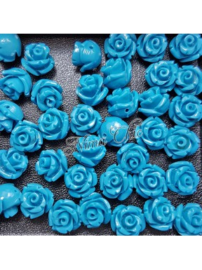 5pz ROSE in resina 8/10mm con foro passante  - LIGHT BLUE