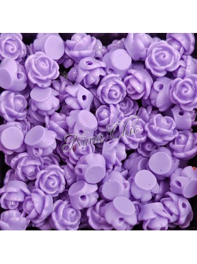 5pz ROSE in resina 8/10mm con foro passante  - LAVANDA