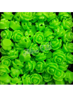 5pz ROSE in resina 8/10mm con foro passante  - GREEN APPLE