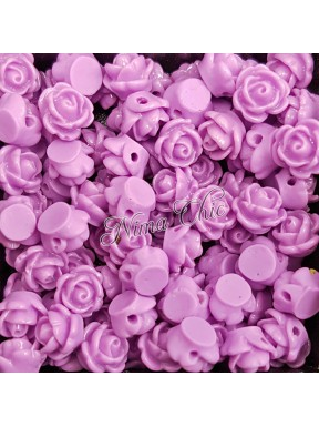 5pz ROSE in resina 8/10mm con foro passante  - GLICINE