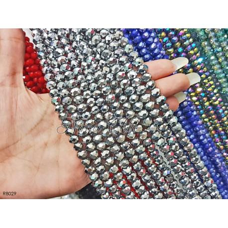 20 CIPOLLOTTI RONDELLE MEZZO CRISTALLO 8mm perle sfaccettate COLORI A SCELTA