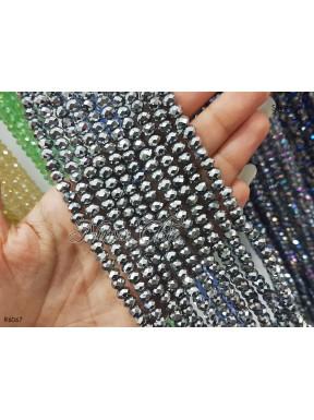 1 Filo di Cipollotti 6mm in cristallo sfaccettato Silver