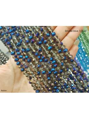 1 Filo di Cipollotti 6mm in cristallo sfaccettato Smoke blue 1/2 ab