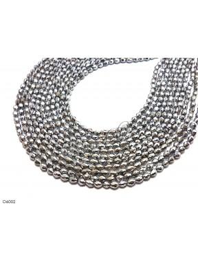 1 Filo di Perle OLIVA 6mm in cristallo sfaccettato Silver