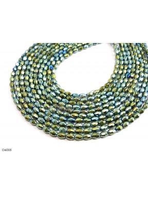 1 Filo di Perle OLIVA 6mm in cristallo sfaccettato metallic olivine