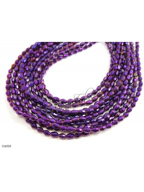 1 Filo di Perle OLIVA 6mm in cristallo sfaccettato metallic Violet