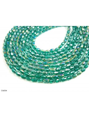 1 Filo di Perle OLIVA 6mm in cristallo sfaccettato sea green ab