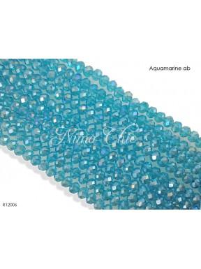 10 Pz di Cipollotti in cristallo 12mm sfaccettati  Aquamarine ab