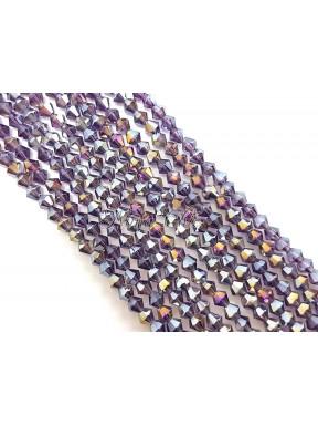 1 FILO di biconi 4mm in cristallo cinese sfaccettato Amethyst ab