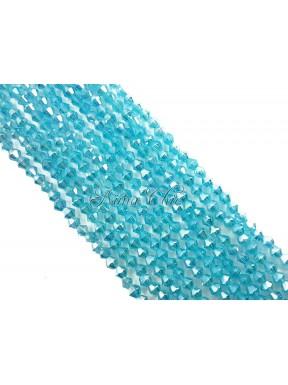 1 FILO di biconi 4mm in cristallo cinese sfaccettato Aquamarine ab