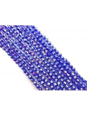 1 FILO di biconi 4mm in cristallo cinese sfaccettato Cobalt blue ab