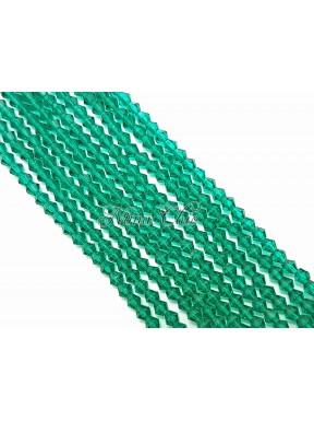 1 FILO di biconi 4mm in cristallo cinese sfaccettato Emerald