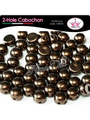 2-hole cabochon jet bronze