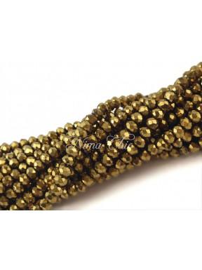 1 Filo di Cipollotti in cristallo sfaccettato 3mm Bronze