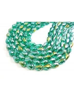 10pz GOCCE in vetro sfaccettato 10x15mm Emerald ab