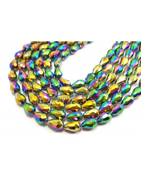 10pz GOCCE in vetro sfaccettato 10x15mm Iris gold ab