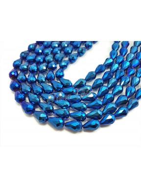 10pz GOCCE in vetro sfaccettato 10x15mm Blue metal