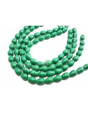 12pz GOCCE in vetro 8x10mm pastel Emerald