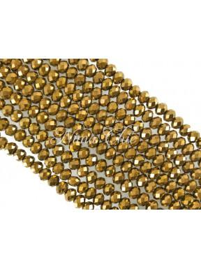 1 FILO di Cipollotti da 2mm in vetro sfaccettato Vintage gold