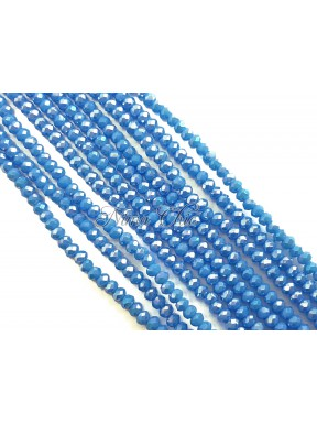 1 FILO di Cipollotti da 2mm in vetro sfaccettato Royal blue opal ab