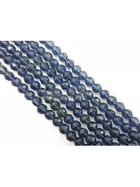 1 FILO di perle TONDE 6mm in vetro sfaccettato Antracite