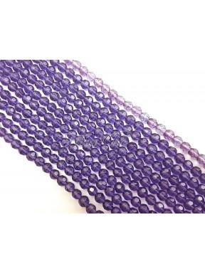 1 FILO di perle TONDE 6mm in vetro sfaccettato Light amethyst