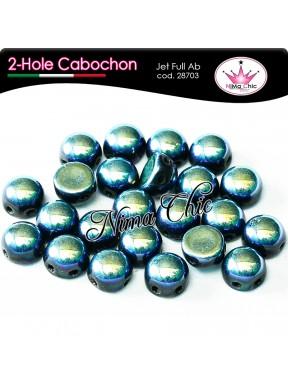 2 hole cabochon jet bronze