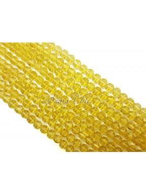 1 FILO di perle TONDE 6mm in vetro sfaccettato Light Topaz