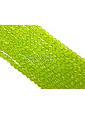 1 FILO di perle TONDE 6mm in vetro sfaccettato Lime