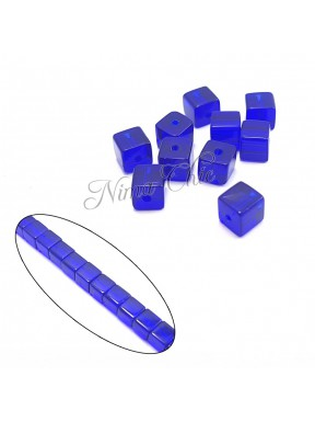 30pz perle CUBO in vetro 4mm Cobalt blue