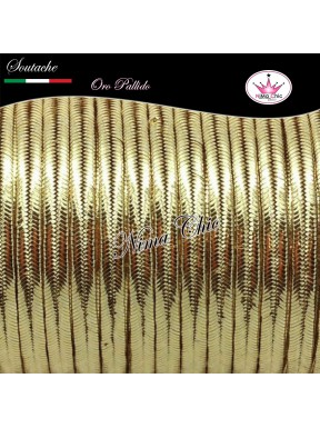 3 MT Cordoncino SOUTACHE viscosa ORO PALLIDO METALLIZZATO  3mm