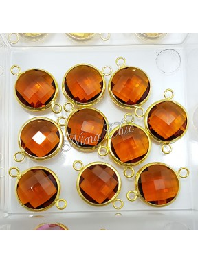 2pz CONNETTORI in ottone e cristallo 15mm col. Topaz - oro