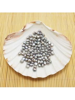 10 Perle di fiume irregolari 6/7 mm Grey AB