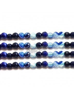 1 FILO Perle di AGATA striata 4mm cobalt blue sfaccettato
