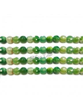 1 FILO Perle di AGATA striata 4mm verde bottiglia sfaccettato