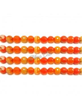 1 FILO Perle di AGATA striata 4mm arancio sfaccettato