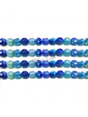 1 FILO Perle di AGATA striata 4mm blu sfaccettato