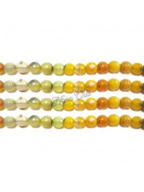 1 FILO Perle di AGATA striata 4mm giallo sfaccettato