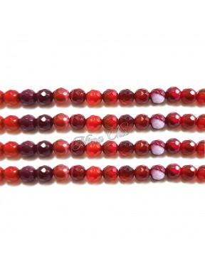 1 FILO Perle di AGATA striata 4mm rossa sfaccettato