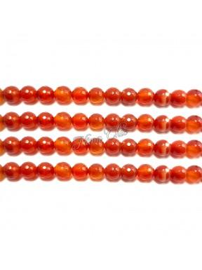 1 FILO Perle di AGATA striata 4mm arancione sfaccettato
