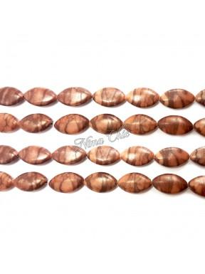 4pz perle navetta in Pietra dura JASPER 13x18cm rosso zebrato