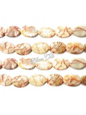 4pz perle Ovali in Pietra dura JASPER 18x25cm bianco e rosso