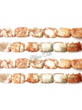 4pz perle rettangolari in Pietra dura JASPER 15x20mm bianco e rosso