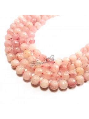 10pz perle in QUARZO ROSA 10mm sfaccetate